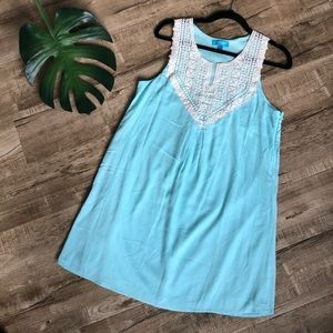 Buttons Robin Egg Blue Lace Short Dress Francesca